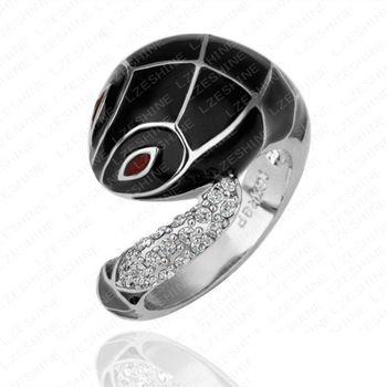 Beagloer Trendy Jewelry Ring Silver Color d Austrian Crystal Black Snake Rings Exaggerated Animal Ring Ri-HQ0134-c