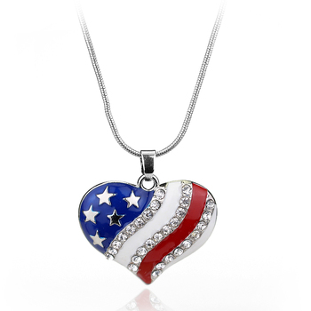 USA American Flag Enamel Blue and Red clear Crystal Rhinestone Heart Patriotic 4th of July Independence Day Pendant Necklace