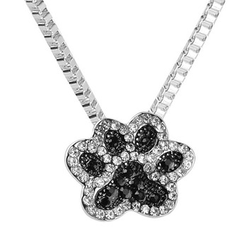 Fashion jewelry Silver Color Black and White crystal rhinestone Dog Paw Pendant Necklace cute gift for girls