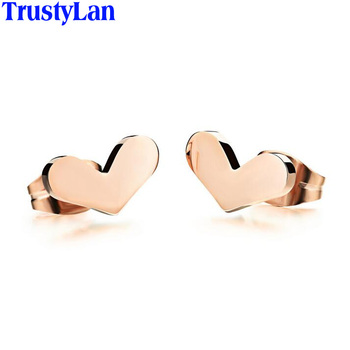 TrustyLan Heart Shape Rose Gold Color Stud Earrings For Women Never Fade Stainless Steel Earings Fashion Jewelry Girls Gifts