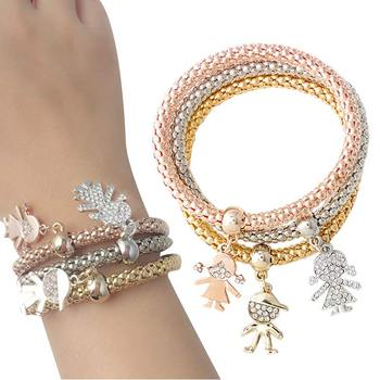 3pcs/set Fashion Lovely Girl/Boy Charm Bracelets & Bangles for Women Weddings Party Accessories KQS