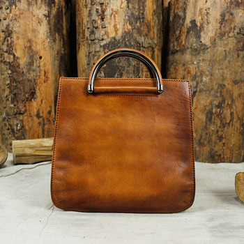 Vintage Color-mixing Designer Top Grain Cow Leather Handmade Women's Small Handbag Cowhide Ladies Totes Soft Shoulder Bag